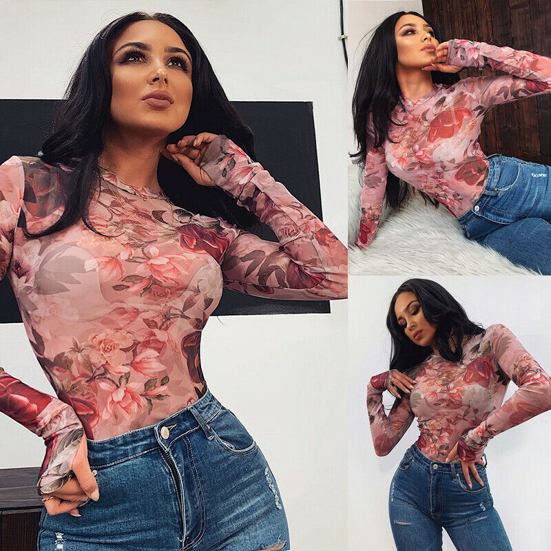 Women Long Sleeve Bandage Bodysuit Floral Tops Blouse Jumpsuit Rompers