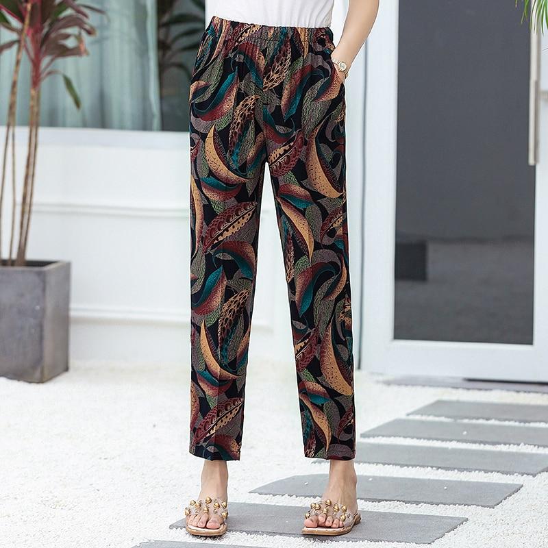 2020 Women Harem Pants Summer Elastic Waist Print Pencil Pants Casual Plus Size Women Plaid Pants High Waist Trousers XL-5XL