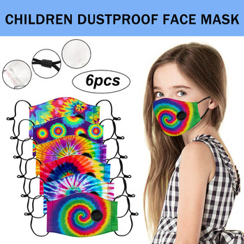 6pcs Kid 's Printed Tie-dye Masks Reusable And Washable Mask Pm2.5 Outdoor Dustproof Sunscreen Mouth-muffle Mascarillas#Z men s jason voorhees friday the 13th printed pure men s hot mouth mask women s kid pm2 5
