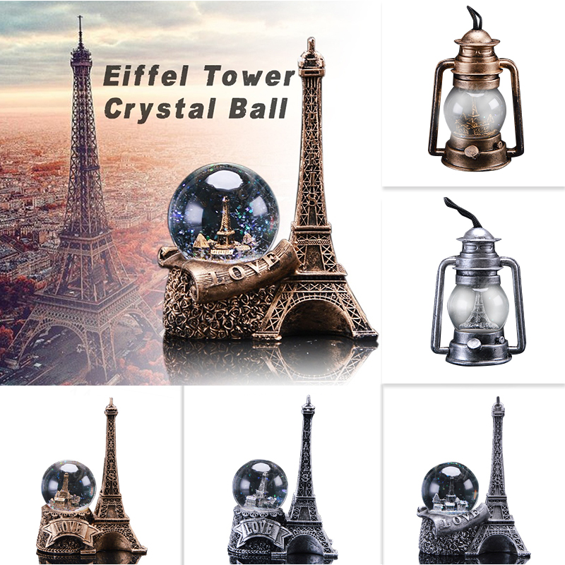 Dropshipping LED Lighted Paris Landmark Eiffel Tower Crystal Snow Globe Love Water Glass Ball Romantic Gifts For Girlfriend