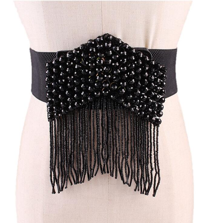 Women's Runway Fashion Black Rhinestone Tassel Cummerbunds Female Dress Coat Corsets Waistband Belts Decoration Wide Belt R2201