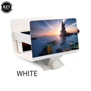 Lupa de pantalla de teléfono estereoscópica de vídeo amplificadora de escritorio 3D, soporte plegable de cuero, soporte para tableta o teléfono móvil