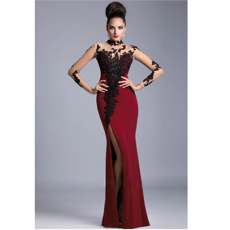 Red Evening Gown 2018 Elegant Long Sleeve Scoop Neck Applique Beaded By Hand Prom Vestido De Festa  Mother Of The Bride Dresses