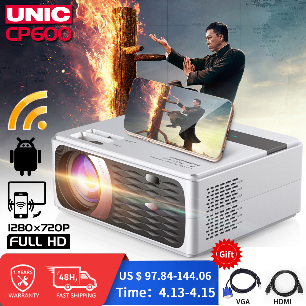 UNIC CP600 55W Full HD 1080P Projector 4K 8000 Lumens Cinema Proyector Beamer for Android WiFi hdmi VGA AV USB port(China)