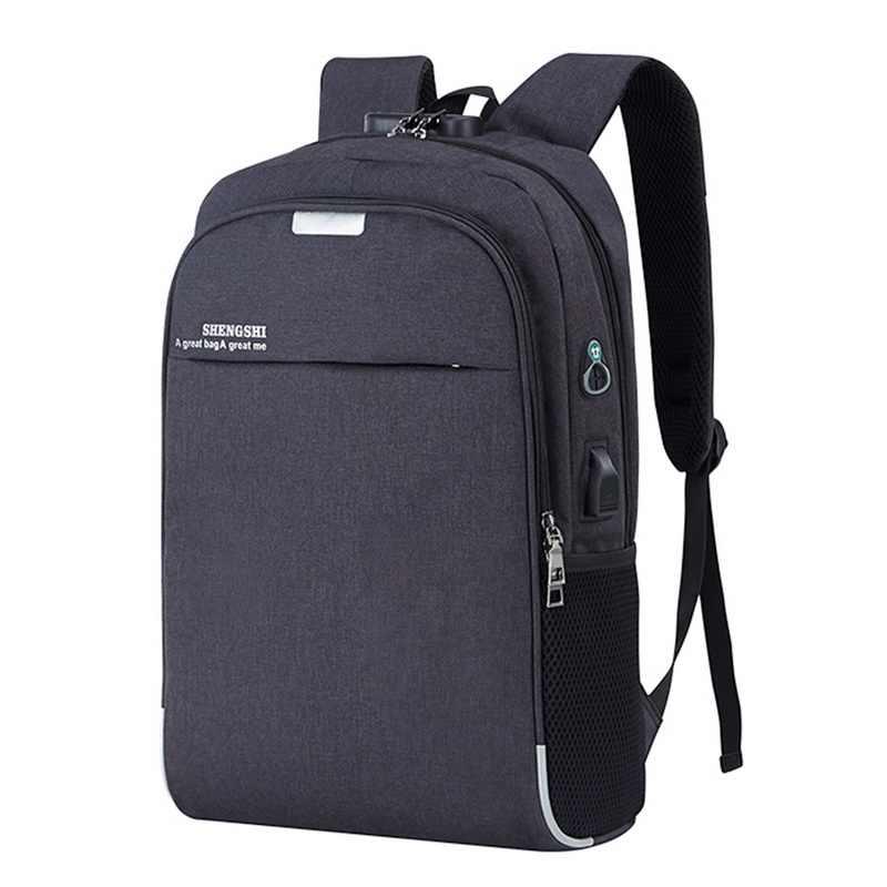 Moda erkek laptop sırt çantası usb şarj bilgisayar sırt çantaları rahat tarzı çanta büyük erkek iş seyahat çantası sırt çantası