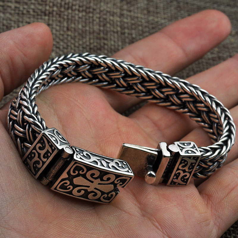 925 Sterling silver Color Men's&Women's Bracelet Wide 11mm Retro Punk Rock Wire-cable Link Chain Bracelet Thai Silver Jewelry