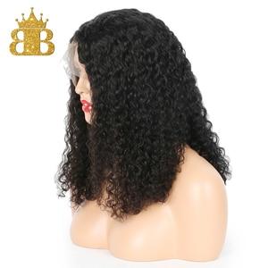 Image 3 - Perruque Lace frontal Wig sans colle Remy, cheveux naturels brésiliens, coupe courte coupe courte bouclée, coupe courte Bob, cheveux profonds, pre plucked avec Baby Hair, 13x4