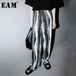 [EAM] High Elastic Waist Printed Long Pleated Wide Leg Trousers New Loose Fit Pants Women Fashion Tide Spring Summer 2020 1W223