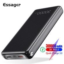 Essager 30000 2600mahのパワーバンク急速充電3.0 pd usb c 30000 mah powerbank xiaomi mi iphoneポータブル外部バッテリー充電器