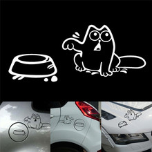 1pcs Funny Motorcycle Accessories Cat Car Sticker Hungry Decal Fuel Tank Cap Decor for Window Bumper Laptop Wall