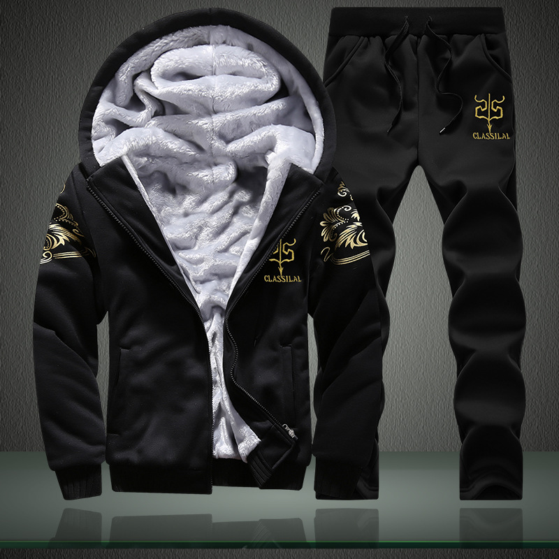 Hot Selling Winter Brushed And Thick Men Leisure Sports Suit Teenager Korean-style Hoodie Set Men's