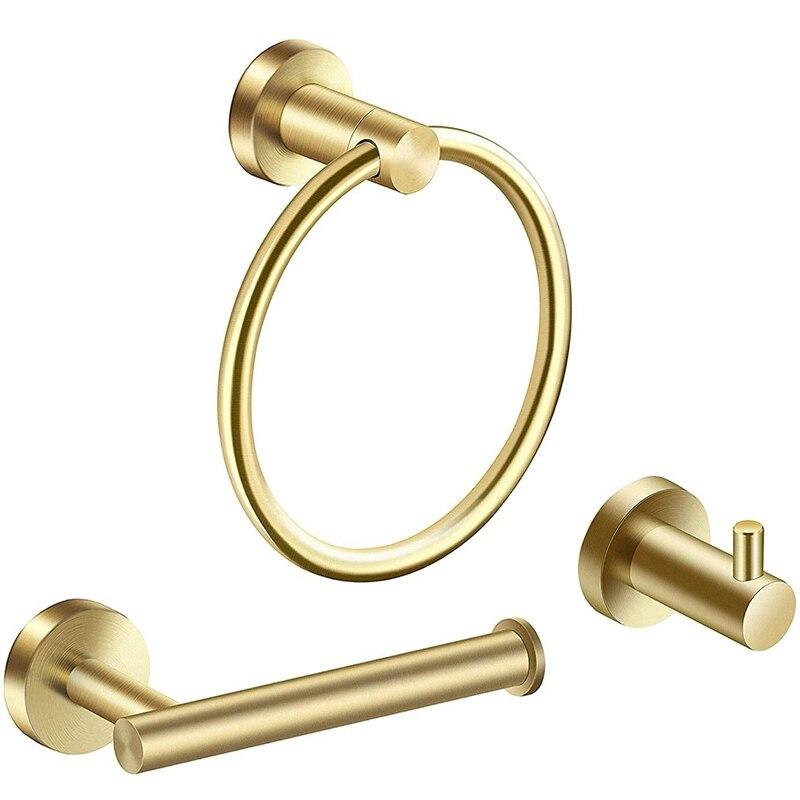 Bathroom Hardware Accessories Set 3 Piece Gold Brushed Bathroom Hardware Sets Modern Towel Ring Robe Hook Hanger Toilet Paper Ho Storage Shelves & Racks     - title=