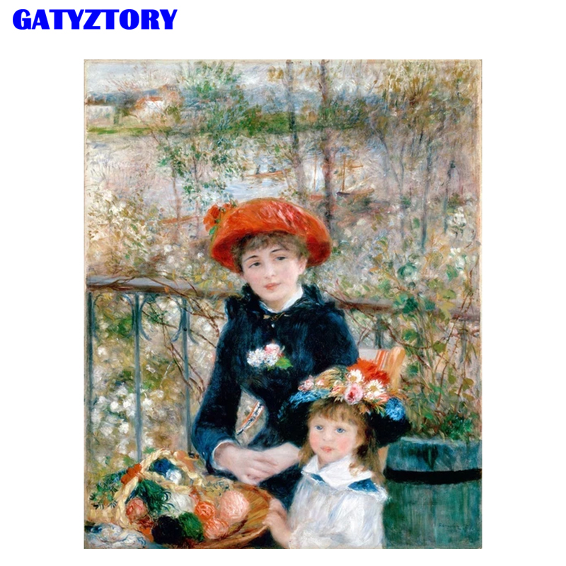 GATYZTORY Frame Figure Painting Mother-Daughter Kits Hand Painted Modern Wall Art Canvas Painting For Artwork Unique Gift