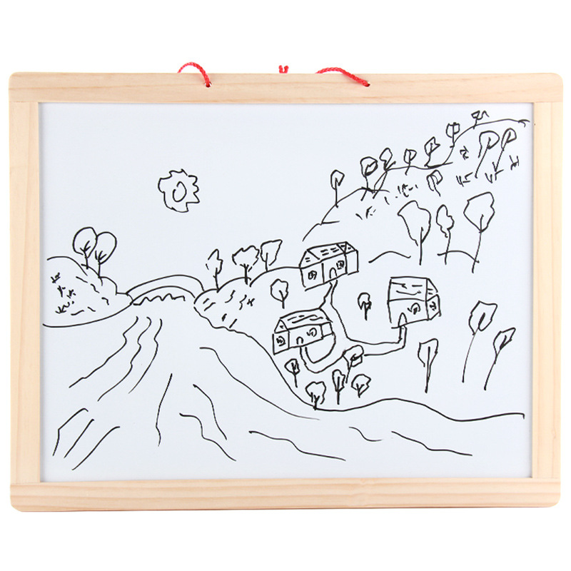 Wall Hanging Blackboard Wooden Children Small Drawing Board Magnetic Writing Whiteboard Teaching For Home & Office Use Message D
