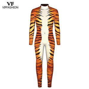Image 2 - VIP אופנה 2019 ליל כל הקדושים Cosplay תלבושות לגברים נמר 3D הדפסת בעלי החיים מערער נחש שרירים בגד גוף סרבלי