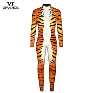 Image 2 - VIP FASHION 2019 Halloween Cosplay Costumes For Men Leopard 3D Printing Animal Zentai Snake Muscle Bodysuit Jumpsuits