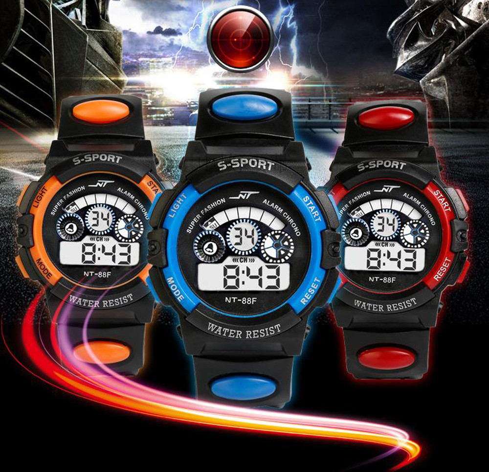 Waterproof Mens Boy's Digital LED Quartz Alarm Date Sports Wrist Watch Candy Color Silicone Wrist Watch For Children Kids Q