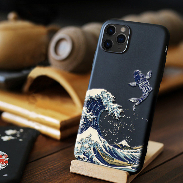 Wave 3D Phone Case For iphone 11 Pro Max 7 8 6s 6 s Plus Case Cover For Funda iphone X XR XS Max 5 s 5s se Case Black Men