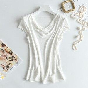 Image 3 - 비스코스 실크 혼합 탑 t 셔츠 여성 천연 실크 고품질 우아한 플러스 사이즈 짧은 루스 셔츠 여름 레이디 무료 배송