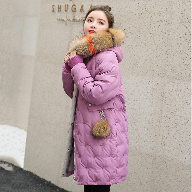 Women&39;s Jacket Large Size 2019 Female Long Hooded Fur Collar Parka_B8_19