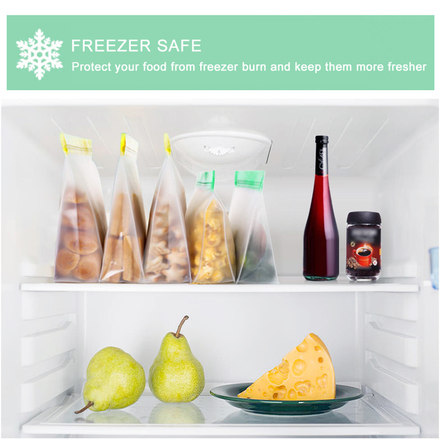 Food Storage PEVA Containers Set Stand Up Fresh Bags Zip Silicone Reusable Lunch Fruit Leakproof Cup Freezer Vegetable Cup Bowl 5