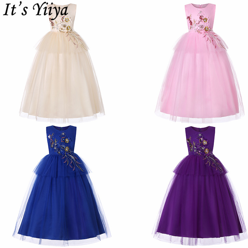 It's YiiYa   Flower     Girl     Dresses   For Weddings 5 Colors Sleeveless Floor Length   Girl   Pageant   Dresses   Kids Party Evening   Dresses   738