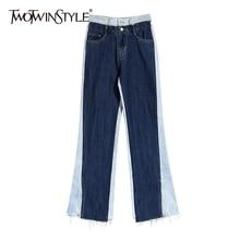 Fashion Pant Wide-Leg Patchwork Full-Length-Pants Color Elegant High-Waist Female Women