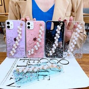 Image 2 - Shiny Glitter Pearl Bracelet Chain Case for Samsung Galaxy A12 A32 A42 A52 A72 A22 A82 4G 5G Coque Soft Silicone Cover