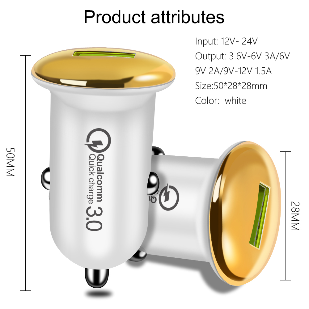 Car Charger Fast Charge 3 0 QC 3 0 Fast Charge Adapter USB Car Charger for