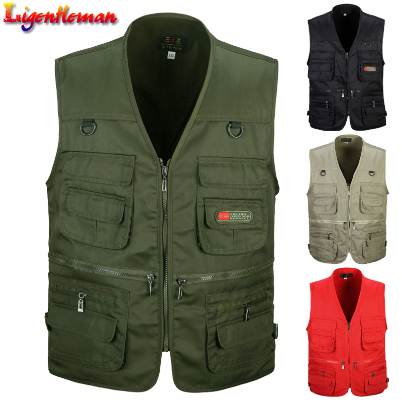 4 Colors The Middle Men's Vest V-neck Collar Photography Vest Outdoor Vest Male With Many Pockets Multifunctional Fishing Vest