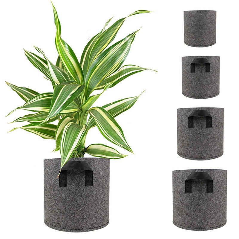 1/3/5/7/10 Galon Abu-abu Tanaman Tumbuh Tas Bernapas Pot Sayuran Penanam Bunga Nursery penanaman Tas Kain Tumbuh Pot