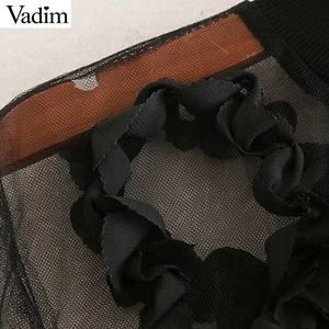 Image 4 - Vadim 女性セクシーな透明なメッシュショートブラウス長袖クロップトップ女性スタイリッシュなパーティークラブシャツ blusas LB543