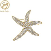 Zhijia new arrival fashion starfish pins brooches for women luxury crystal rhinestone accessories