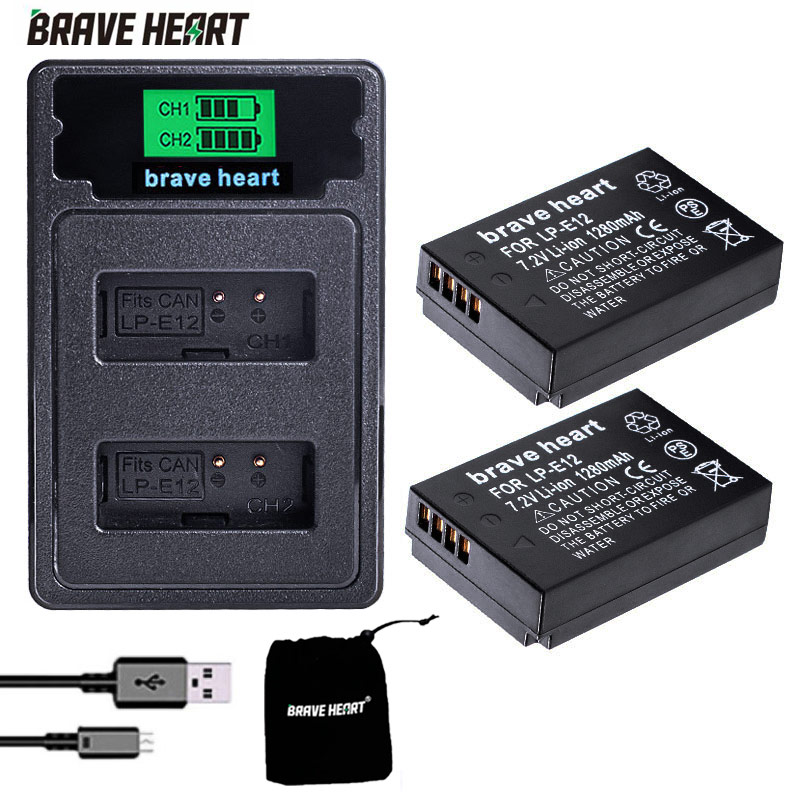 2X LP-E12 LPE12 LP E12 Camera <font><b>Battery</b></font> Bateria Batterie AKKU +DUAL type-c Charger For <font><b>Canon</b></font> M <font><b>100D</b></font> Kiss X7 Rebel SL1 EOS M10 DSLR image
