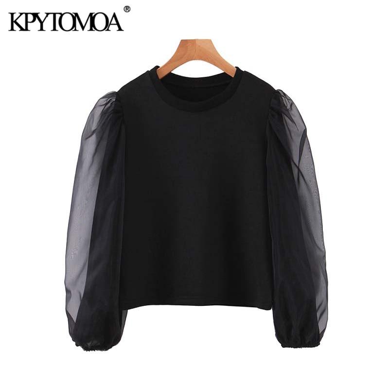 Vintage Elegant Organza Patchwork Sweatshirt Women 2020 Fashion O Neck See Through Sleeve Female Pullovers Chic Tops