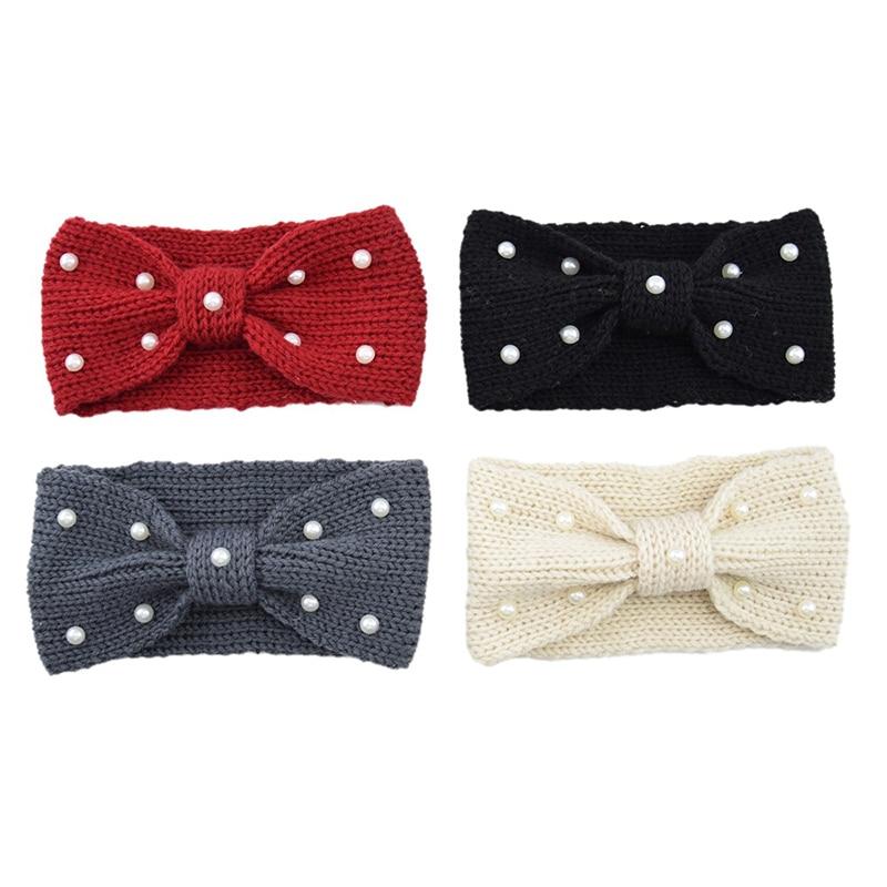 2019 Winter Warmer Ear Knitted Headband Turban For Lady Women Crochet Bow Pearl Stretch Solid Hairband Headwrap Hair Accessories