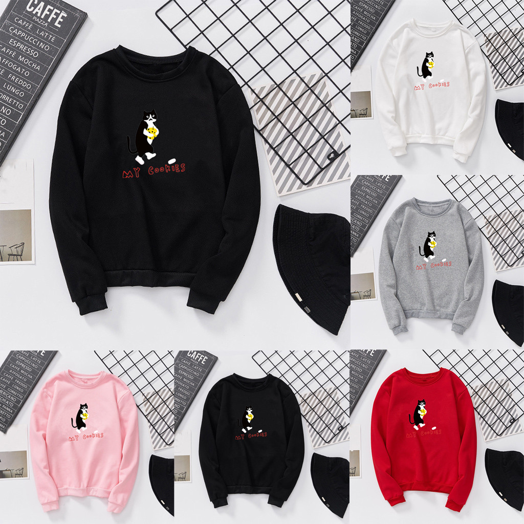 Sweatshirt Unisex Men Women Casual Long Sleeve O-Neck Cat Printed Sweatshirt Pullover Autumn Winter Fashion Streetwear Hoodies