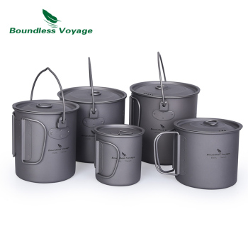 Boundess Voyage Titanium Cup Camping Hanging Pot with Folding Handle and Lid Outdoor Pot Picnic Cookware Tea Coffee Water Mug