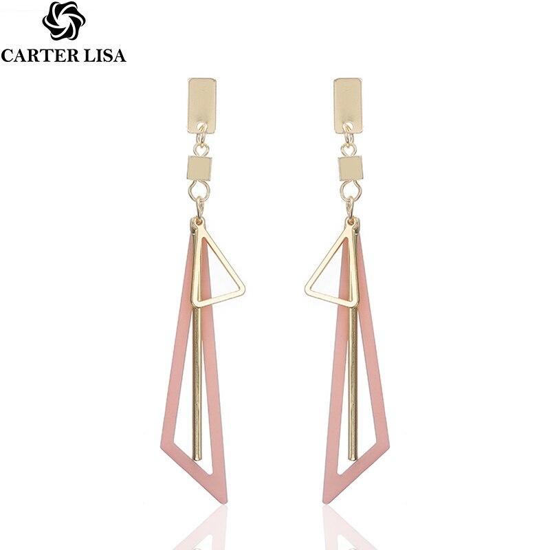 CARTER LISA 2019 New Hot Korean Geometric Tassel Drop Earrings Elegant Statement Earrings For Women HLEZ83000