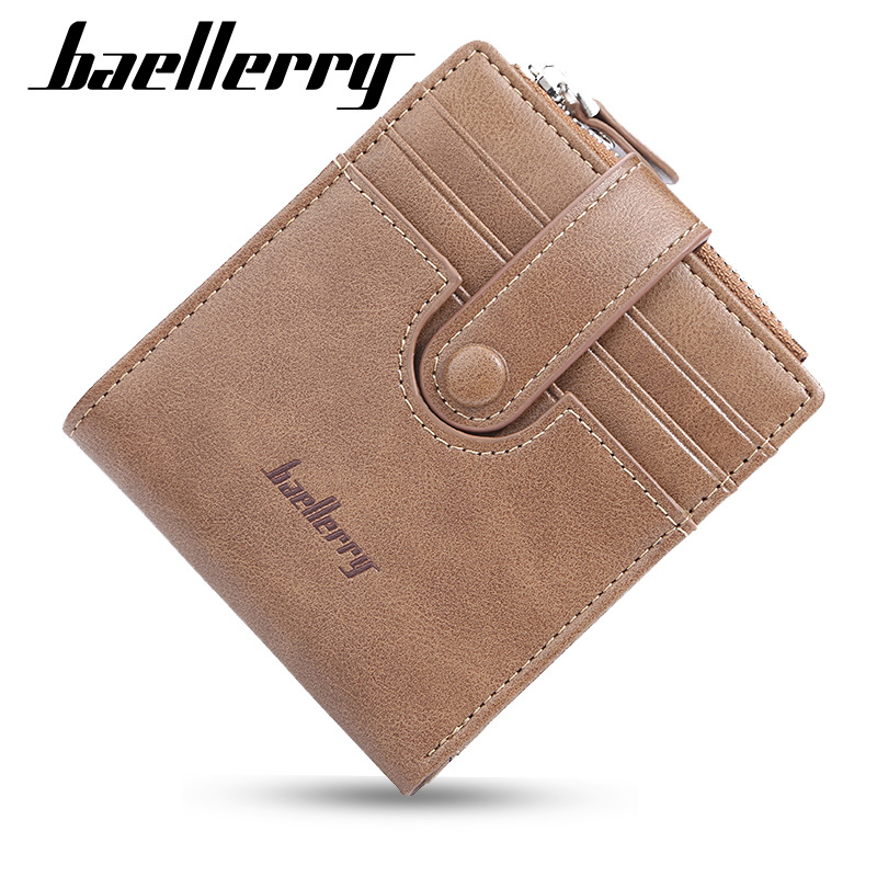 Baellerry Men Wallets Men Money Purse Coin Bag Zipper Short Male Wallet Card Holder Slim Purse Pocket Wallet Clutch