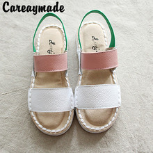 Careaymade-Genuine Leather Sandals,pure handmade shoes,the r