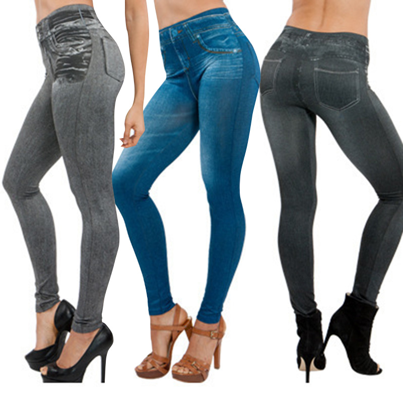 Women Thin Jeans Leggings With Pocket High Waist Slim Fit Denim Pants Trousers LF88