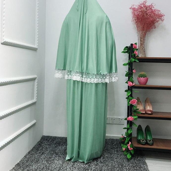 Muslim Two-Piece Set Women Prayer Garment Top and Skirt Ramadan Worship Robe Lace Big Swing Maxi Skirts Kaftan Islamic Clothing