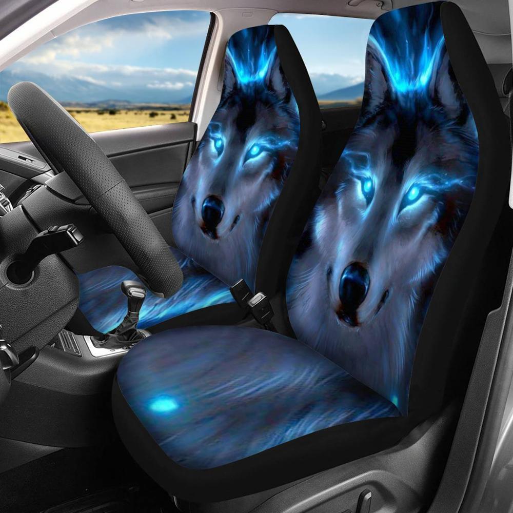 Image 2 - HUGSIDEA Cool 3D étoile loup impression housse de siège de  voiture de luxe housse de protection de voiture mode Animal conception  Auto fournitures avec cuir PUHousses de chaise