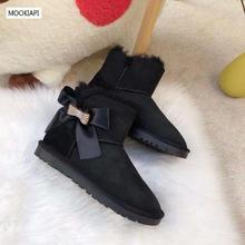 Самая модная австралийская женская обувь с пряжкой, г. Натуральная овечья кожа шерсть зимние сапоги высокого качества четыре цвета