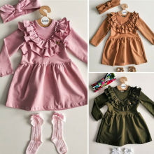 От 1 до 6 лет Платье для маленьких девочек с длинными рукавами и оборками для девочек Однотонные Вечерние Повседневные платья повязка на голову, комплекты одежды