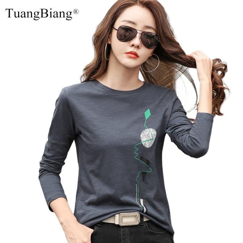 Весенние 2021 хлопковые футболки с длинным рукавом 100% Женская