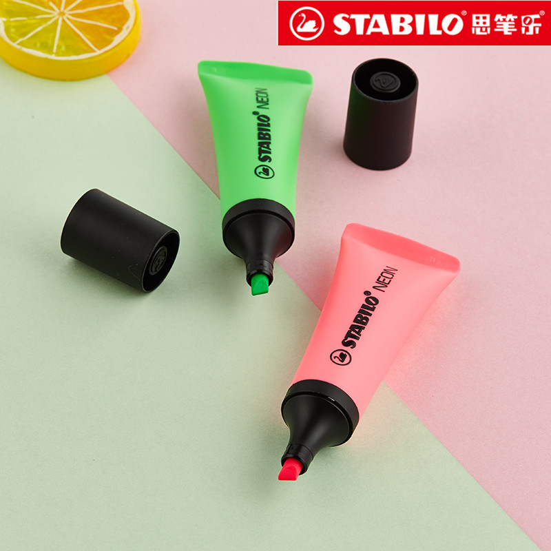 Stabilo Neon 72 Highlighter Toothpaste Marker Pen Oblique Tip Fluorescent Yellow/Pink/Orange/Green/Magenta Colors For Choose