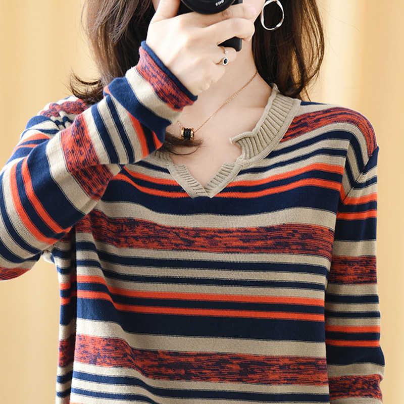 Attyyws 여성 긴 소매 v-목 스웨터 가을 새로운 풀오버 colorblock 스트 라이프 느슨한 야생 양모 스웨터 짧은 레이스 코트 스웨터