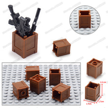 Military Storage Firearms Box Building Blocks Battlefield Figures Weapons World War 2  Assemble Army Child Christmas Toy